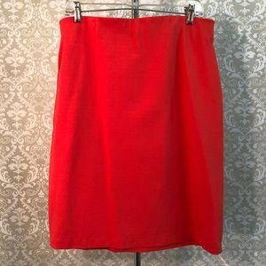 Philosophy orange pencil skirt w/ gold zipper